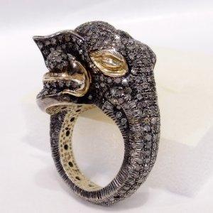 画像1: マハラジャの豪華なダイヤモンドの象リング♪ 1900年頃・指輪・9K・ぞう