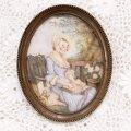 本を読む貴婦人が描かれたミニアチュールの壁掛け♪細密画・フランス・1880年頃