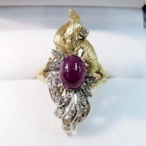 画像1: ルビーとダイヤモンド♪ルビーのお花の指輪♪1930年頃